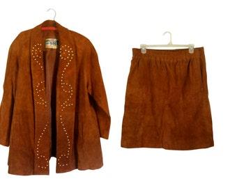 Vintage 3X Plus Size Clothing Plus Size Blazer Plus Size Clothes Leather Suit Studded Leather Studded Jacket Plus Size Suit Skirt Suit Women