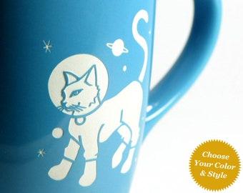 Astronaut Cat Space Mug - Choose Your Cup Color
