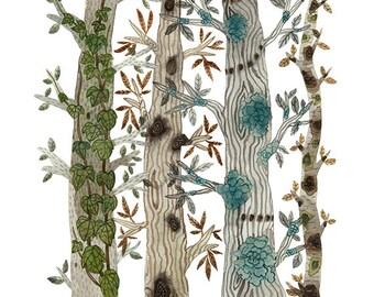GROßE Bäume in den Wald zu drucken, Giclée-Druck, Natur-Kunst, Baum Illustration, faux Bois, Wald Aquarell Druck, 13 x 19
