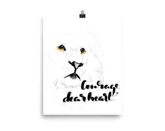 NIRSERY DECOR, Poster, Wall Art, Courage Dear Heart, C S Lewis, Nursery Art, Lions