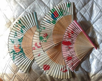 Set of 4 Vintage Hand Fans, Handmade Colorated Fans, Bamboo Fans, Wedding table decorations