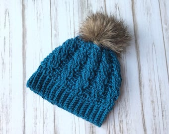 Girls Fur Pom Pom Hat, Textured hat, Custom order, Fits 3 to 10 years old, Custom colors, Custom hat, Winter Beanie, Gift for her Photo Prop