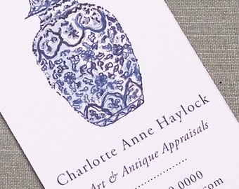 PERSONALIZED BUSINESS CARDS Chinese Blue and White Ginger Jar, Set of 50