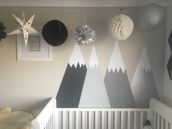 Mountains Wall Decal Crib Headboard Nursery Baby Room Decals Kids Toddlers Wall Sticker Removable Gray Silver Self Adhesive #mountains010