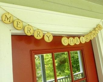 Holiday Garland - Christmas Garland - Christmas Banner - Rustic Christmas Decor - Wood Slice Decorations - Rustic Christmas Decorations