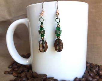 Coffee Earrings...Emerald Isle..Authentic Fair Trade Coffee Bean Earrings .. FREE SHIPPING
