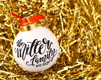 Calligraphy Handpainted Christmas Ornament / Holiday Ornament / Personalized Ornament / Engagement Gift / Holiday Decor / Wedding Gift