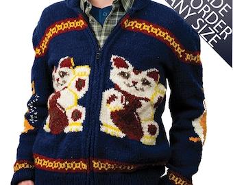 Men's Sweater Hand Knit Wool Lucky Cat Cardigan Sweater Made to Order Maneki-Neko Women's Sweater Christmas sweater