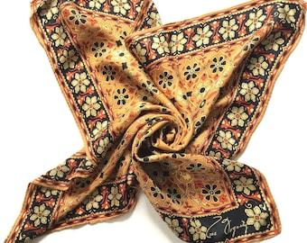 "Vintage 1970s ANNE FOGARTY floral geometric 100% Silk Scarf 27"""