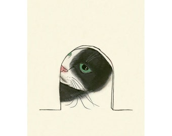 """Cat art drawing -   Anyone Home - 4"""" X 6"""" print - 4 for 3 Sale"""