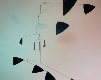 Black Mobile Kinetic Sculpture Modern Home Decor Stress Reducing and Healing Art in Triangle Style