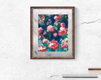 Geometrical Floral Painting Abstract Intuitive Bohemian Wall Art Expressionist Original Painting Boho Interior Design Artwork Flowery Blue