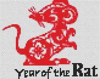 Rat Cross Stitch Kit, Year of the Rat Cross Stitch, Chinese Zodiac Cross Stitch, Embroidery Kit, Art Cross Stitch