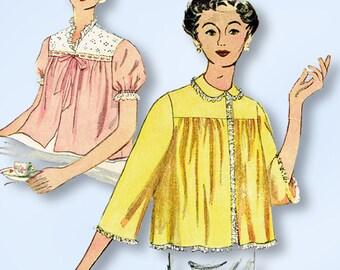 1950s Vintage Simplicity Sewing Pattern 4496 Misses Bedjacket Size 12 30 Bust
