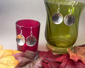 Domed Sterling Silver disc earrings with hammered texture