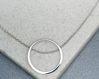 Sterling Silver Open Circle Necklace, Personalised Open Circle Necklace, Gifts for Her, Personalized Gifts, Sterling Silver Necklace