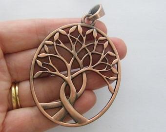 1 Tree pendant antique copper tone CC14
