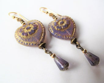Purple and Gold Czech Glass Heart with Flowers and and Dangling Teardrop Beads 14k Gold Filled Earrings - Love - BeadedTail