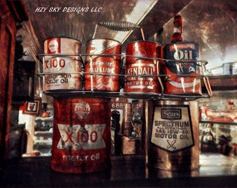 antique oil cans photography print, gifts for men,mancave,petrol