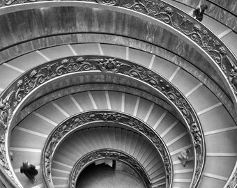 Rome Photography, Black and White, Vatican, Bramante Staircase, Spiral, Travel, Italy, Europe, Architecture, Wall Art, Home Decor, Abstract