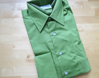 1960s 1970s Men's Olive Green Dress Shirt by Van Heusen Century - Size 16/33 NOS Deadstock French Cuffs (B3)