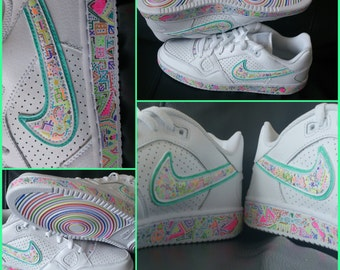 Sharpie 'Son of Force' Nike Hand-drawn customised Trainers