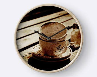 Dirty Coffee Cups in Sepia Wall Clock