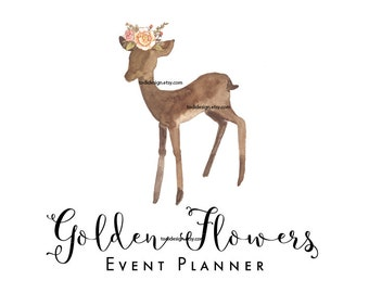 Golden Flowers Premade Logo design- Event and wedding planner, Photography