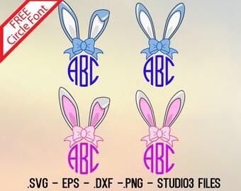 Bunny ears monogram designs. Vectors cuttable files.