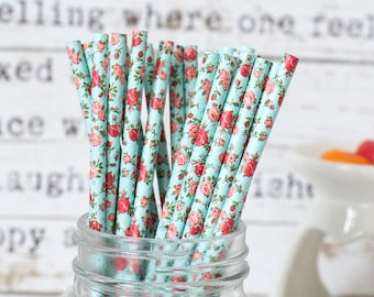 Pastel Blue with Rose Paper Straws, Beautiful Straws for Wedding or Birthday Celebration, Heart Straws, Yellow , Paper Straws, Wedding Straw