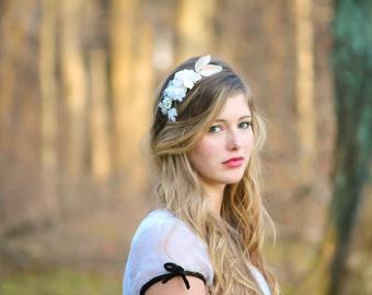 flower crown, bridal headband with velvet flowers and rhinestone