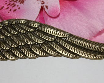 1 pendant charm wing Charm feather Bronze 77x21mm