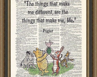 "Winnie the Pooh ""The things that make me different"" quote printed on a vintage dictionary page. Nursery Wall Decor, Pooh Bear Art, Kids Room"