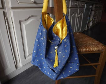 Hand bag boho fabric reversible blue/gold, with clasp and pockets