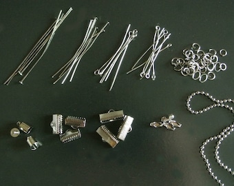 Lot of finishes (L10GM) metal gunmetal color, chain, connectors, clasps, rods, Finials, rings