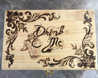 Drink me Alice in Wonderland pine pyrography jewelry/trinket box