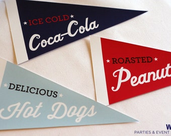 Baseball Party Instant Download / Pennant Flags / Baseball Printables / Baseball Printable PDF / Baseball Favor / Baseball Candy Table