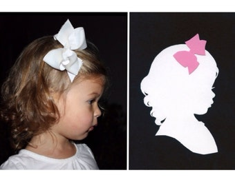 Custom Silhouette Portrait: 5x7, White Silhouette, Black Background, with Color Embellishment