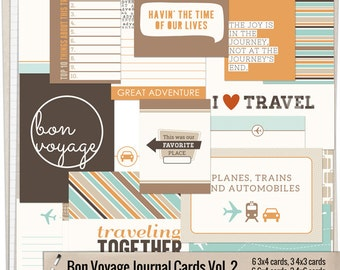 Bon Voyage Journal Cards Vol. 2 - Printable journaling cards for Project Life and digital scrapbooking by Mira Designs