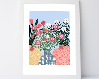 Three Vases Art Print 30x40cm | Floral Print | Vase of Flowers | Still Life | Floral Illustration | Wall Art | Gift For Her