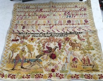 Antique Embroidery Sampler from 1863