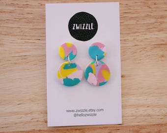 Polymer clay earrings - yellow, pink, blue and lavender mini dangles
