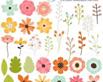 Floral Elements Clipart Set - flowers, leaves, buds, spring flowers clip art set - personal use, small commercial use, instant download