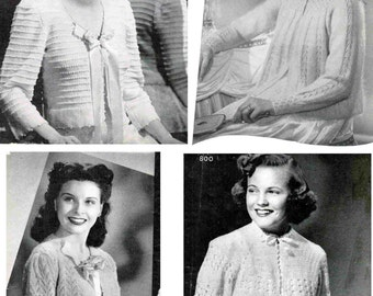 Knit and Crochet Lacy Bed Jacket Patterns (set of 4) / Bed sweater patterns / Knit Crochet bed jacket / nursing jacket patterns
