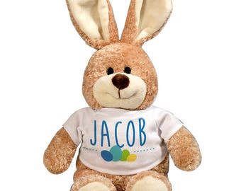 Colorful Easter Eggs Personalized Easter Bunny, plush bunny, plush toy, Easter gift for kids, easter basket stuffer -gfy86124668L-blue