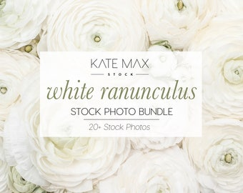 White Ranunculus / Styled Stock Photos / 20+ KateMaxStock Flower Branding Images for Your Business
