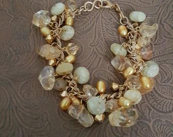 Faceted A grade citrine and Swarovski Crystal bracelet