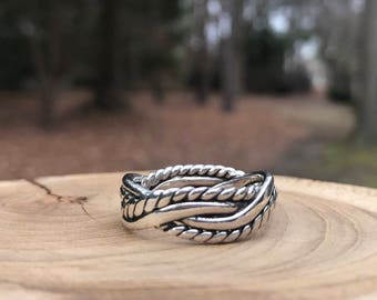 Silpada Braided Weaved Band Ring Size 11- R0669 - Sterling Silver, Vintage Retired
