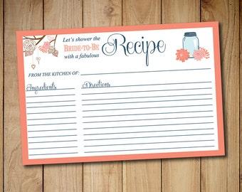 "Bridal Shower Recipe Card Printable | 4"" x 6"" Mason Jar Recipe Card Download | Orange Sherbet Blue Shabby Chic | Wedding Bridal Shower Gift"