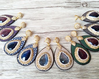 New!! Semiprecious Stones with Gold Accent Crystals on Stingray Leather